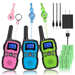 Wishouse Rechargeable Walkie Talkies for Kids with Charger 3X3000mAh Battery