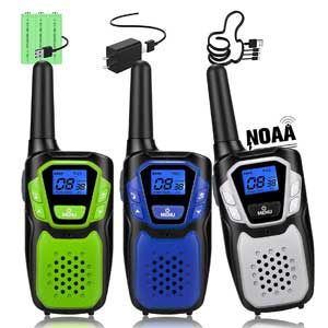 3 Pack Rechargeable Walkie Talkies, Long Range Handheld Two Way Radio