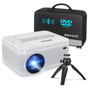 BIGASUO Bluetooth Full HD Projector Built in DVD Player,5500 Lumens
