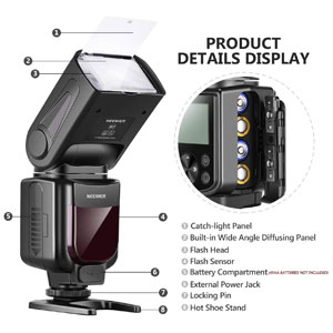 NW635 GN58 TTL Flash Speedlite with LCD Display and Soft Diffuser