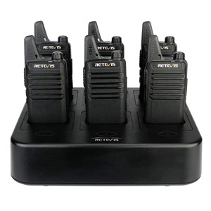 Retevis Rechargeable 2 Way Radios Two-Way Radio(6 Pack) with 6 Way Multi Gang Charger