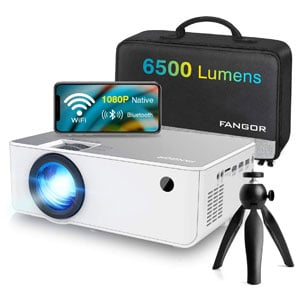 FANGOR 6500 Lumen 1080P HD Projector with WiFi and Bluetooth