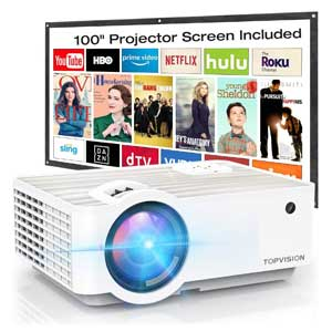 "TOPVISION Projector with 100"" Projector Screen,Built in HI-FI Speakers"