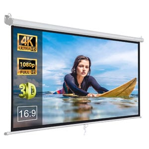 ZENY 100 Inch HD Portable Projector Screen Pull Down Foldaway