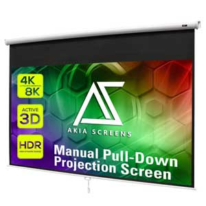 Akia 100 inch Pull Down Projector Screen 8K 4K HD 3D with Auto Lock