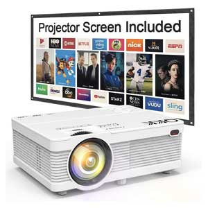 QKK 5500 Portable LCD Projector 100 Projector Screen Included