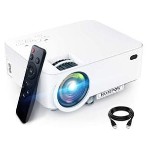 Hompow High Brightness Portable Video Projector 1080P Supported