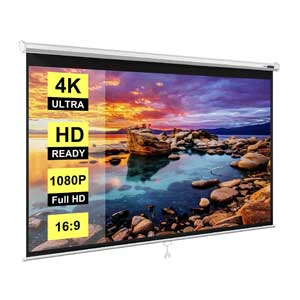 VIVOHOME 100 Inch Pull Down 16:9 HD Retractable Projector Screen